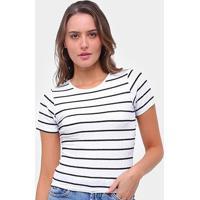 Blusas Lecimar Canelada Listrada Amarração Feminina - Feminino-Branco