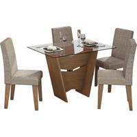 Conjunto Mesa De Jantar Vitoria 1,20M Com 4 Cadeiras Milena Savana Tecido Linhão Nude Cimol