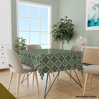 Toalha De Mesa Quadrada Para 4 Lugares Geométrico Verde 1.45M X 1.45M Único