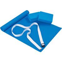 Kit Para Yoga Mor Com Colchonete + Cinto + 2 Blocos - Azul