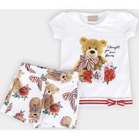Conjunto Infantil Milon Urso Fofinho Bebê Feminino - Feminino