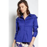 Camisa Lisa Com Babado- Azul- Le Fixle Fix