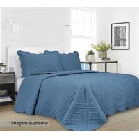 Conjunto De Colcha Geo King Size- Azul Escuro- 3Pã§S
