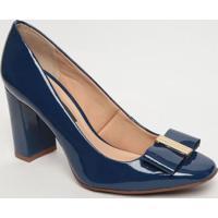 Sapato Tradicional Em Couro Com Tag - Azul- Salto: 8Jorge Bischoff