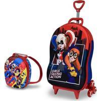 78d09226f Mochila Escolar 3D Com Rodinhas E Lancheira Maxtoy Super Hero Batgirl  Harley Quinn Feminina - Feminino