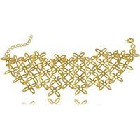 Pulseira Estilo Bracelete Com Mini Flores 3Rs Semijoias Dourado
