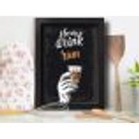 Quadro Cozinha E Bar Frase Rum 22X32Cm Moldura Preta