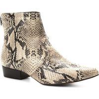 Bota Couro Cano Curto Shoestock Snake Feminina - Feminino-Preto+Branco