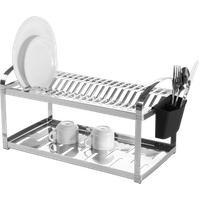 Escorredor Aço Inox 20 Pratos Com Escorredor De Talheres Plástico - Suprema 60 X 27 X 28,5 Cm - Brinox