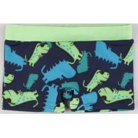 Sunga Infantil Boxer Estampada De Dinossauros Azul Escuro