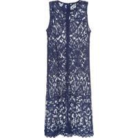 Vestido Saida De Praia Renda Canal - Azul