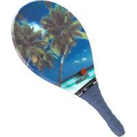 Raquete Fast Ball Frescobol Fibra Estampa Mar Coqueiro - Unissex