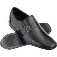 Sapato Social Euro Flex Couro Conforto Macio Leve Resistente Masculino - Masculino-Preto+Prata