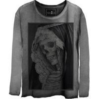 Camiseta Estonada Gola Canoa Manga Longa Skull
