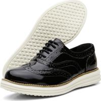 Sapato Oxford Casual Conforto Verniz Preto