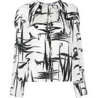 Balenciaga Blusa De Seda Com Estampa Gráfica - Branco