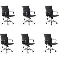 Conjunto Com 6 Cadeiras De Escritório Best Diretor Preto