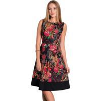 Vestido Com Recorte Floral Moda Evangélica