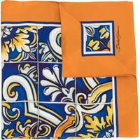 Dolce & Gabbana Echarpe Maiolica De Seda Com Estampa - Azul