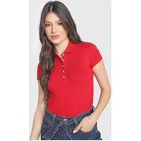 Camisa Polo Aleatory Bordado Vermelha