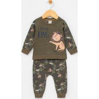 Conjunto Infantil Em Moletom Blusão Estampas De Animais E Calça Camuflada - Tam 0 A 18 Meses