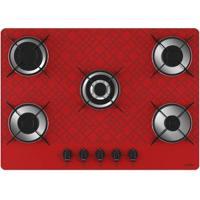 Cooktop A Gás Casavitra Excellence 5 Bocas Tetris Vermelho E10E56537 Bivolt Se