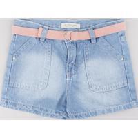 Short Jeans Infantil Com Cinto Azul Claro