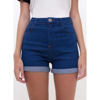 Short Cintura Alta Em Jeans Médio