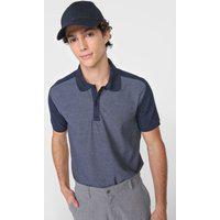 Camisa Polo Aleatory Reta Duo Color Azul-Marinho
