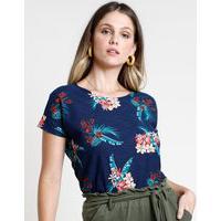 Blusa Feminina Estampada Floral Com Folhagens Manga Curta Decote Redondo Azul Marinho