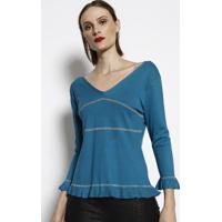 Blusa Em Tricô- Azul- Cotton Colors Extracotton Colors Extra