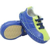 Tênis Bebê Mogly Em Couro Com Elástico Masculino - Masculino-Azul+Verde