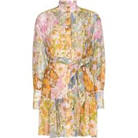 Zimmermann Belted Floral-Print Mini Dress - Rosa