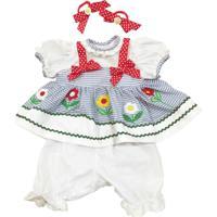 Roupa Para Bonecas - Adora Doll - Vestido Azul E Branco Com Flores - Shiny Toys - Feminino-Incolor