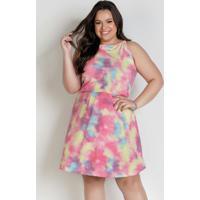 Vestido Midi Tie Dye Com Alças Plus Size