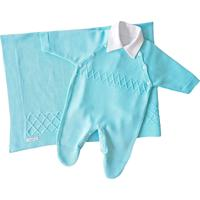 Saída De Maternidade Tamine 3Peças Tricô Azul Bebê