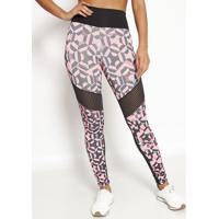 Legging Com Recortes Vazados- Preta & Rosaphysical Fitness