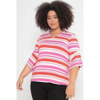 Blusa Listrada Texturizada- Pink & Laranja- Cotton Ccotton Colors Extra