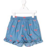 Stella Mccartney Kids Short Jeans Com Estampa De Cerejas - Azul