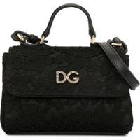 Dolce & Gabbana Kids Bolsa Tiracolo Com Renda E Aplicação De Cristais - Preto