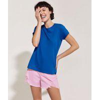 Blusa Feminina Básica Pantone Manga Curta Decote Redondo Azul