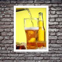 Quadro Decorativo Cerveja Gelada No Ponto Branco - Grande