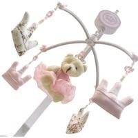 Móbile Musical Ursa Princesa Com 4 Coroas Enoy Rosa