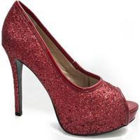 Peep Toe Glitter Sapato Show - Feminino-Vermelho Claro