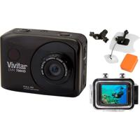 Câmera Vivitar Full Hd Dvr786 Vivitar Kit P/ Surf Preto