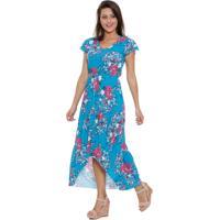 Vestido Feminino Longo Estampa Floral Marisa