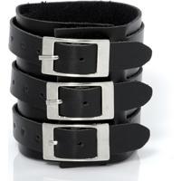 Bracelete Galeria Do Rock Três Fivelas - Unissex