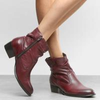 Bota Em Couro Com Recortes & Franzido- Bordã´- Salto:Shoestock