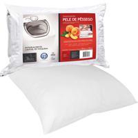Travesseiro Fibrasca Pele De Pêssego Lavável Em Máquina Branco