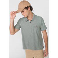 Camisa Polo Aleatory Reta Recortes Texturizados Verde
